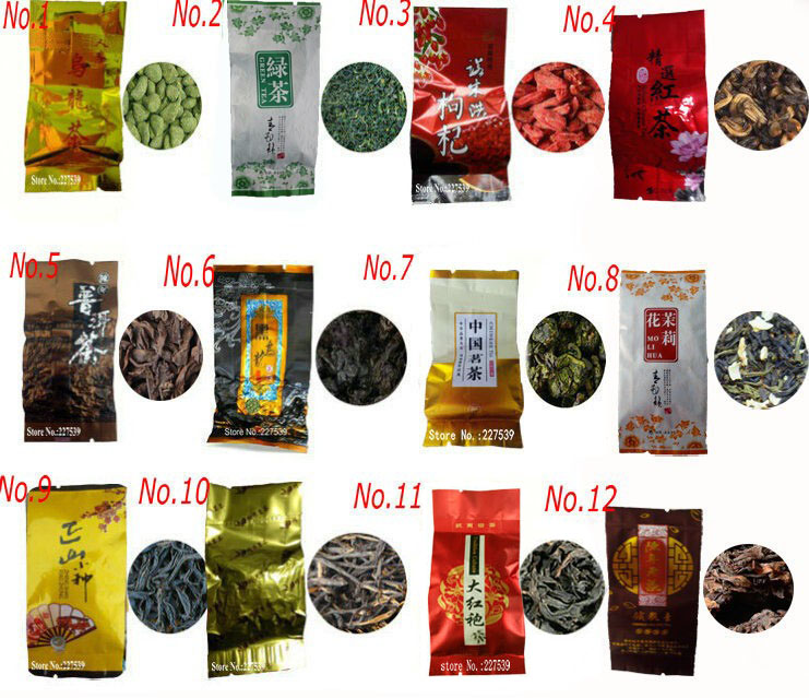 12 Different Flavors Famous Tea Chinese Tea Oolong Green Goji herbal puer Black Tieguanyin Lapsang souchong DahongpaoTea gift