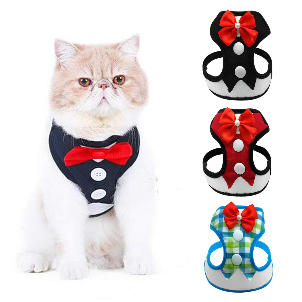 Nylon Cat Dog Harness Vest With Leash Bowtie Adjustable Suit Tuxedo Cute Bowknot Cat Harness Leash Set For Cats Kitten Puppy