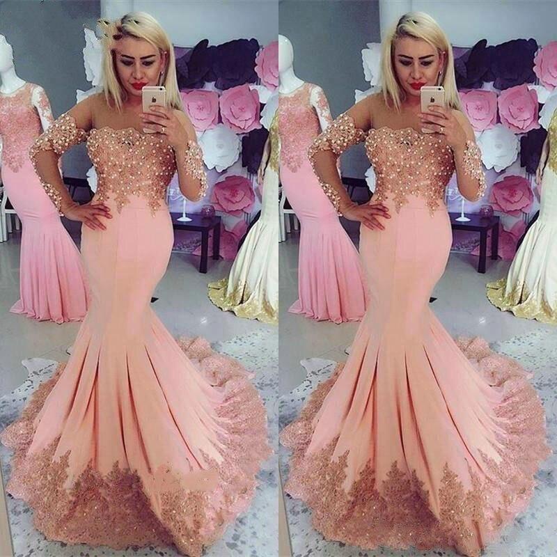 Evening Dresses Long abiye gece elbisesi robe soiree Arabic Formal Dress Evening Gown Mermaid Full Sleeve Beaded vestidos largos