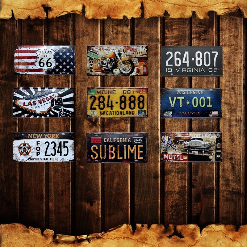 Металлический постер для украшения стен дома в Лас-Вегасе, винтажные оловянные вывески США 66 в стиле штата Мэн, Калифорния, Нью-Йорк, номерно...