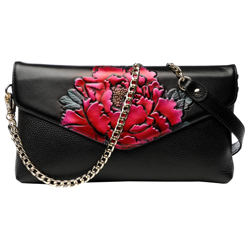 National Style Vintage Peony Celebrity Clutches Evening Bags Women Long Wallet Purse Wristlet Ladies High Capacity Shoulder Bag celebrity day clutches high capacity handbag fashion star long wallet purse evening banquet chains shoulder crossbody bag zipper