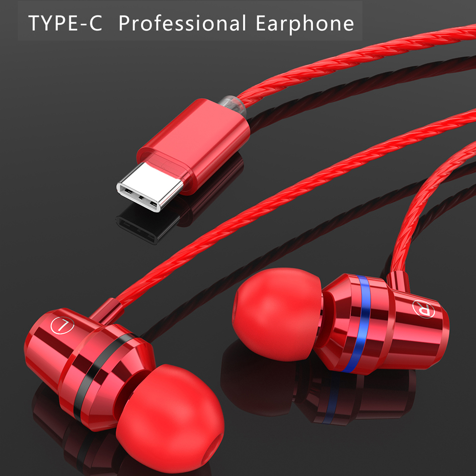 USB Type C Earphone Metal Headset Super Bass Earbuds With Microphone For Mobile Phone Xiaomi Huawei Fone De Ouvido Auriculares