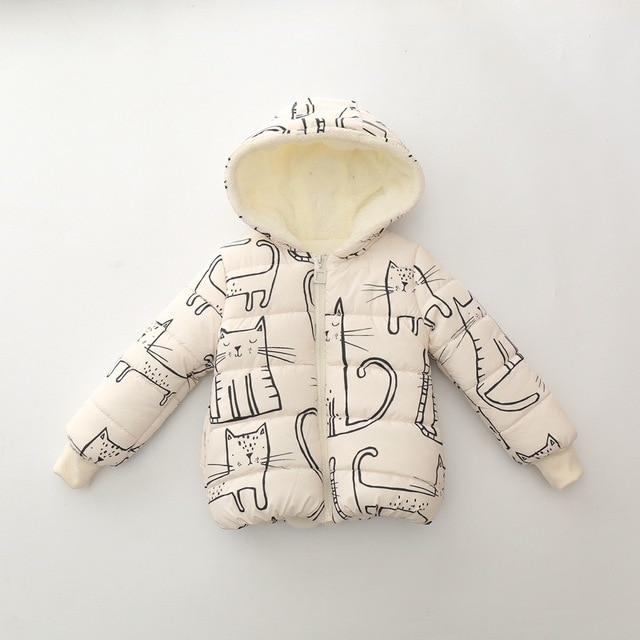 Children Unisex Coats Warm 2017 New Fashion Kids Winter Coats Cat Print Children Boys Girls long sleeve Hooded Jacket