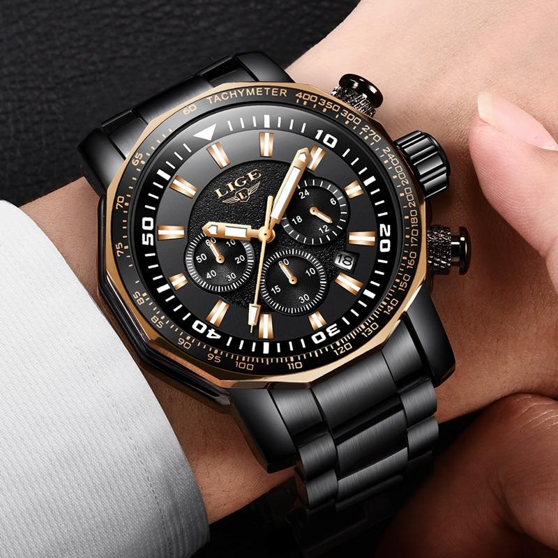 все цены на LIGE Mens Watches Top Brand Luxury Chronograph Quartz Watch Men Full Steel Casual Sport Military Watches Black Relogio Masculino онлайн