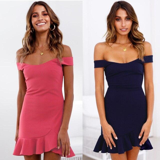a4ad483140a1 Sexy Low-cut Off Shoulder Strapless Ruffles Dress Vestidos Pink Purple  Summer Autumn Women Sexy Dress Party Night Club Dress