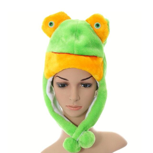doubchow 2017 halloween cute plush green frog animal hats for adults women teenagers kids boys girls