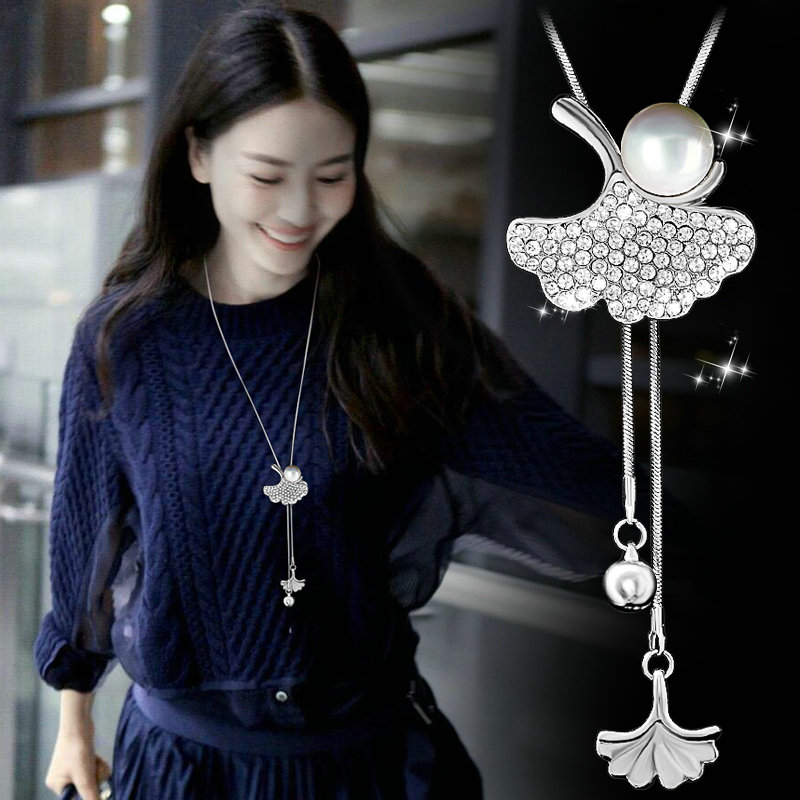Lovely Ginkgo biloba Leaf Long Beaded Chain Tassel Pendant Necklace Women Office Lady Imitation Pearl Jewelry Bijoux Gifts