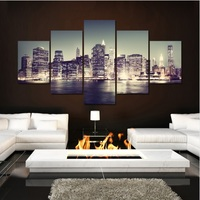 5 Planes Wall Art Beautiful Night View Print Picture Canvas Pictures Prints For Living Room Home
