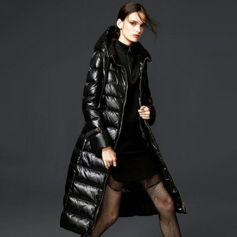 Bright Black Winter Down Coats Women 90% White Duck Down Jacket Long Hooded Female Parkas 2019 New Arrival Women's Down Jacket