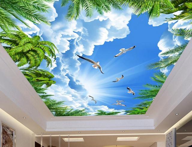 Niestandardowe 3d Sufitu Kokosowe Drzewo Blekitne Niebo Sufit Tapeta