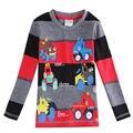 Varejo 100% nova marca de algodão listrado camisa do menino t para o menino de manga longa camiseta com o pescoço