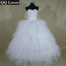 QQ Lover 2017 New Pleat Beaded Tiered Ball Gown Wedding Dress Custom-made Bridal Gown Robe De Mariage Vestido De Noiva