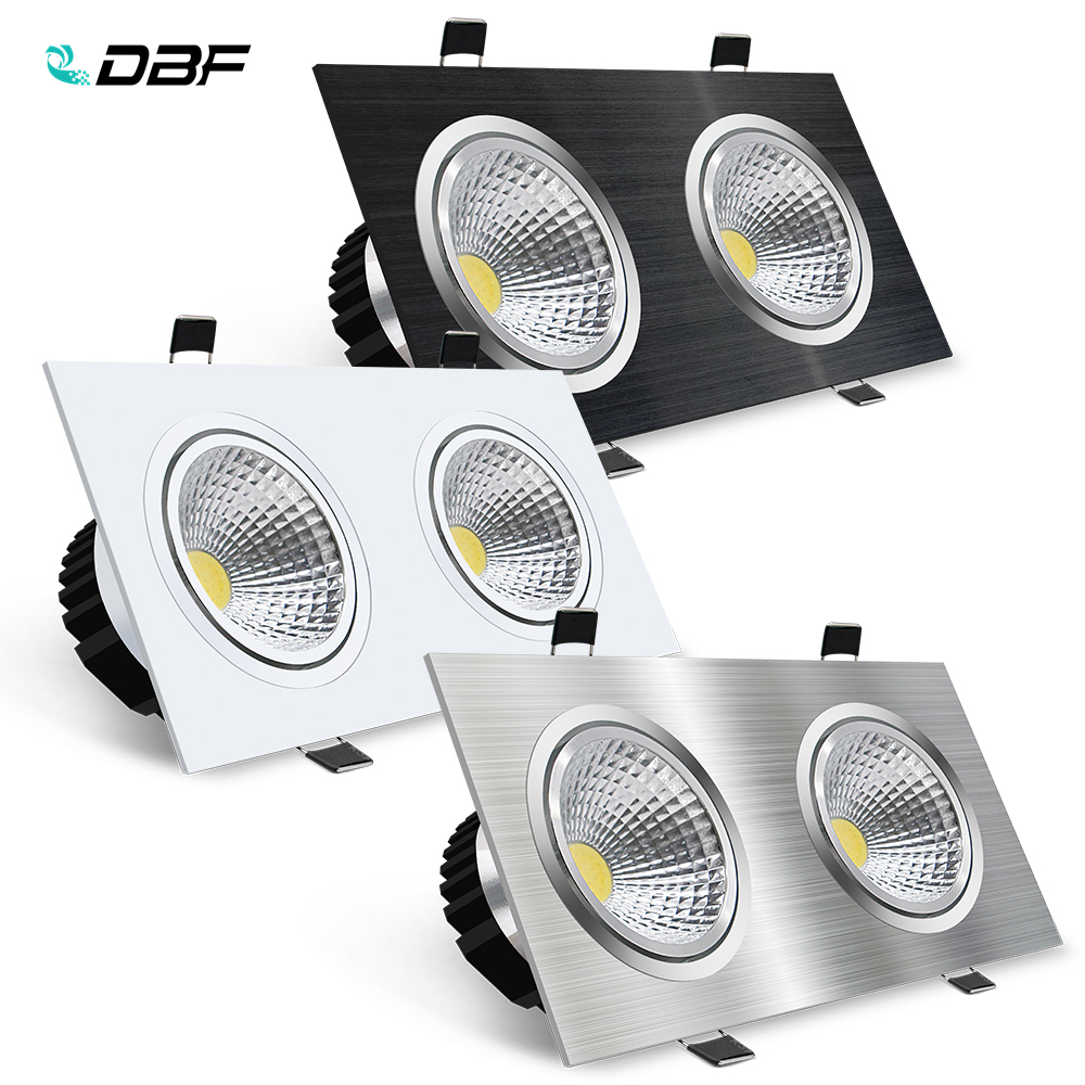 [DBF]Black/White/Silver 2 Heads Square Recessed <font><b>LED</b></font> Dimmable Downlight COB 14W 18W <font><b>24W</b></font> 30W <font><b>LED</b></font> Ceiling Spot <font><b>Lamp</b></font> AC 110V/220V image
