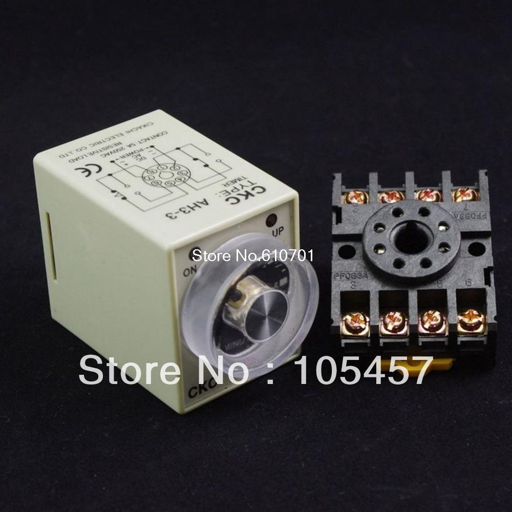 12VDC/24VDC/24VAC/110VAC/220VAC Power On Delay AH3-3 Timer 0-10s Relay With 8Pins Socket Base PF083A