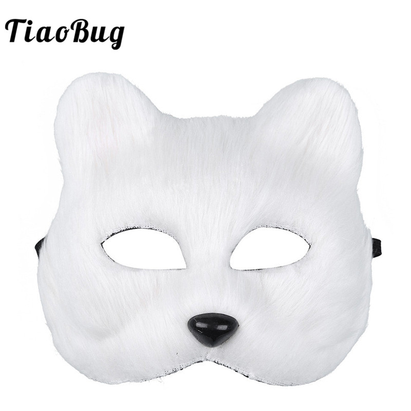 TiaoBug Unisex Adult Half Face Furry Faux Fur Animal Fox Mask Men Women Halloween Cosplay Costume Party Masquerade Accessories