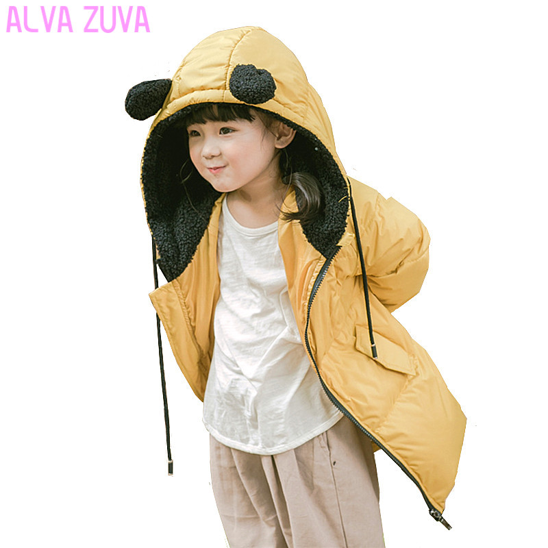 ALVA ZUVA 2017 Children Winter Jacket Cartoon Cute Baby Girls Boys Down Jacket Kids Warm Outerwear Parkas Coat  Clt325 цена 2017