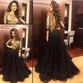 Sexy negro Carystal vestido De noche opacidad De tres cuartos mangas vestido De espalda abierta Celebrity Vestidos De Novia Prom Vestidos g50