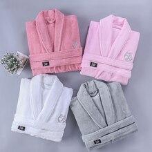 Winter Bathrobe Women Cotton Thick Bath Warm Robe Sleepwear Womens Robes Towel Fleece Lovely Thicken Nightgowns White Pink