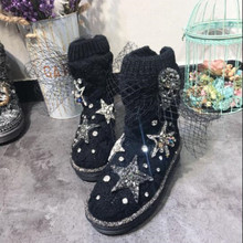 50c767ed2 Newest Chic Women Winter Shoes Knitting Wool Warm Winter Ankle Boots Lace  Net Crystal Stars Fashion