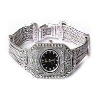 Нефрит ангел стерлингового серебра Роскошные Винтаж часы 925 серебряный браслет с Марказит ювелирные изделия для женщин