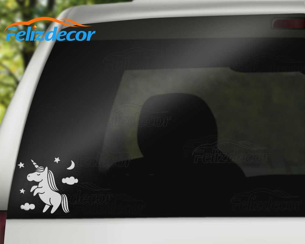 New stock car sticker decal unicorn clouds fantasy art car rear windshield decor waterproof diy decals
