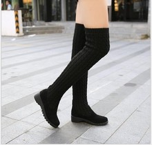Free shipping Fashion Autumn/winter female black shoes over-the-knee The wool women's boots flat shoes sexy warm long high boots