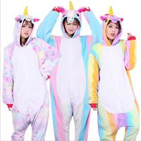 Wholesale Rainbow Unicorn Kigurumi Stitch Unisex Flannel Hoodie Pajamas Costume Cosplay Animal Onesies Sleepwear Women Adults
