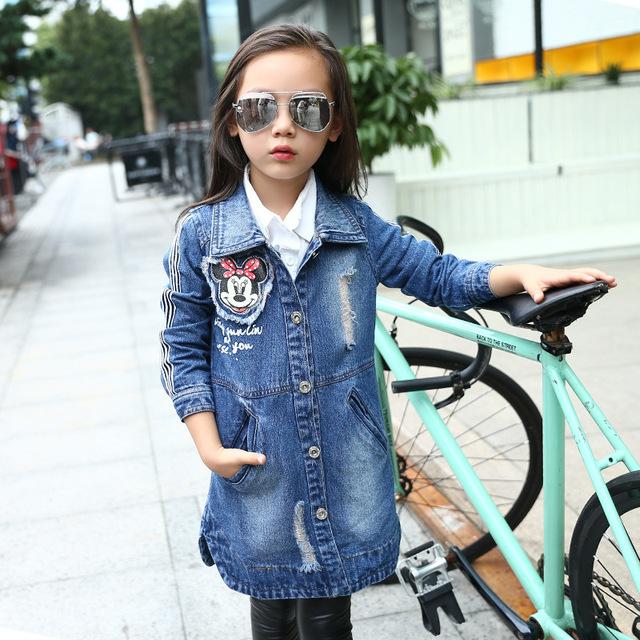 Niñas Denim Zanja Otoño Niños Jeans Abrigos Rompevientos Chaqueta Linda de La Historieta Niños Ocio ropa de Abrigo Vestidos Infantil Guardapolvo