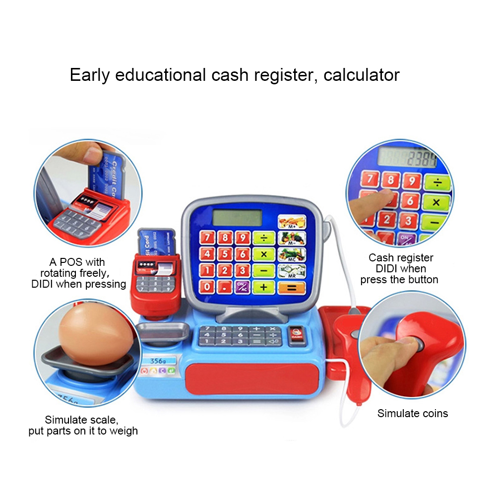 Cash Register with Scanner Weighing Scale Electronic Educational Toy Multi-functional Play Toy For Kid Real Calculator Toys P15 Karachi