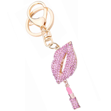 Rhinestone Sexy Lips Lipstick Key Chain Ring Holder Fashion Alloy Handbag Keychain Car Keyring Women Bag