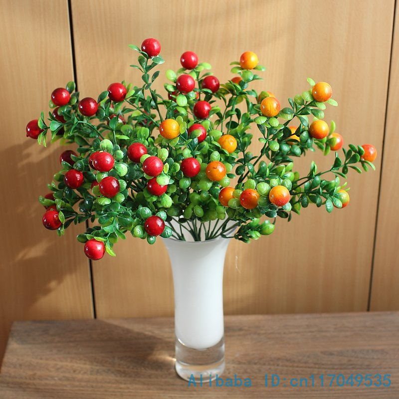 1 PCS Beautiful Artificial Plastic Bush Red Berry Green Plant Wedding Home Decoration Gift F219