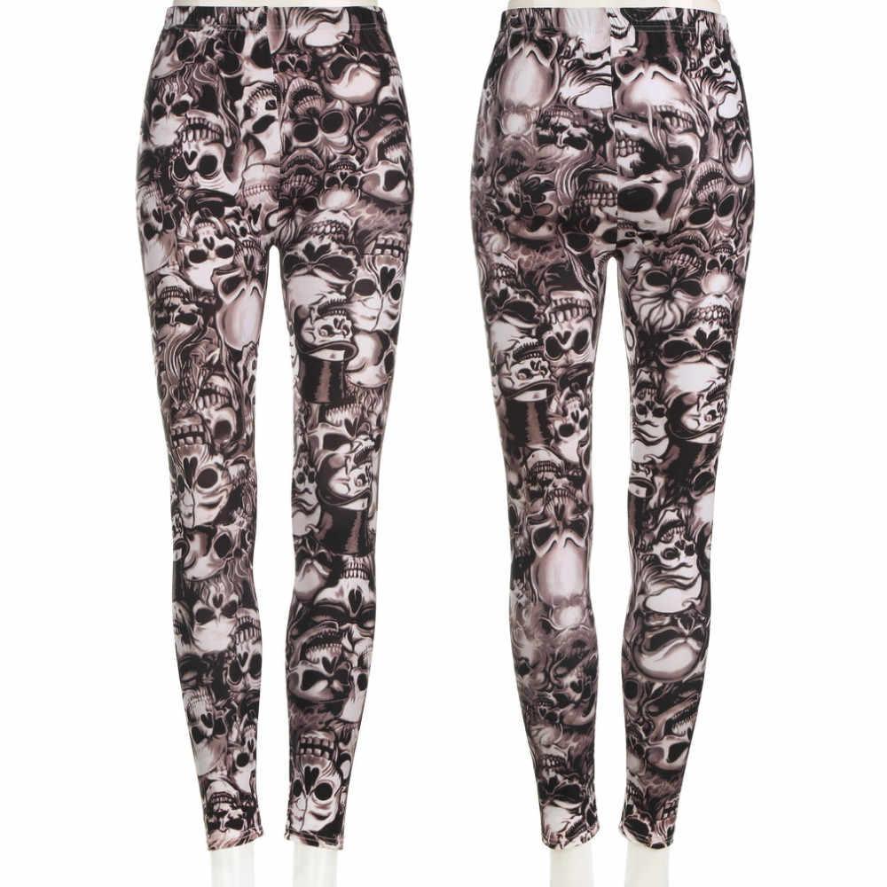 ff6fd9151ee47 Jampelle Sexy Women Stretch Leggings Elastic Slim Skinny Skull Printed  Legging Mid Waist Legings Full Length