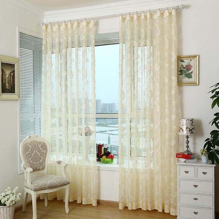 Semi shade knitted fabric girls elegent tulle lace window for Como hacer cortinas para sala