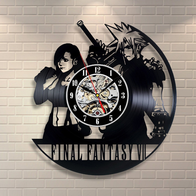 Hot Creative CD Vinyl Record Wall Clock Final Fantasy VII Theme Wall Watch Horloge Murale Classic Home Decor Clock Reloj De Pare