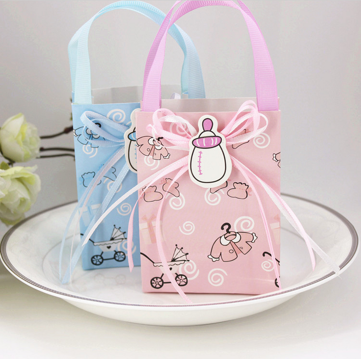 96pcs Mini Pink Blue Kids Milk Bottle Paper Baby Shower