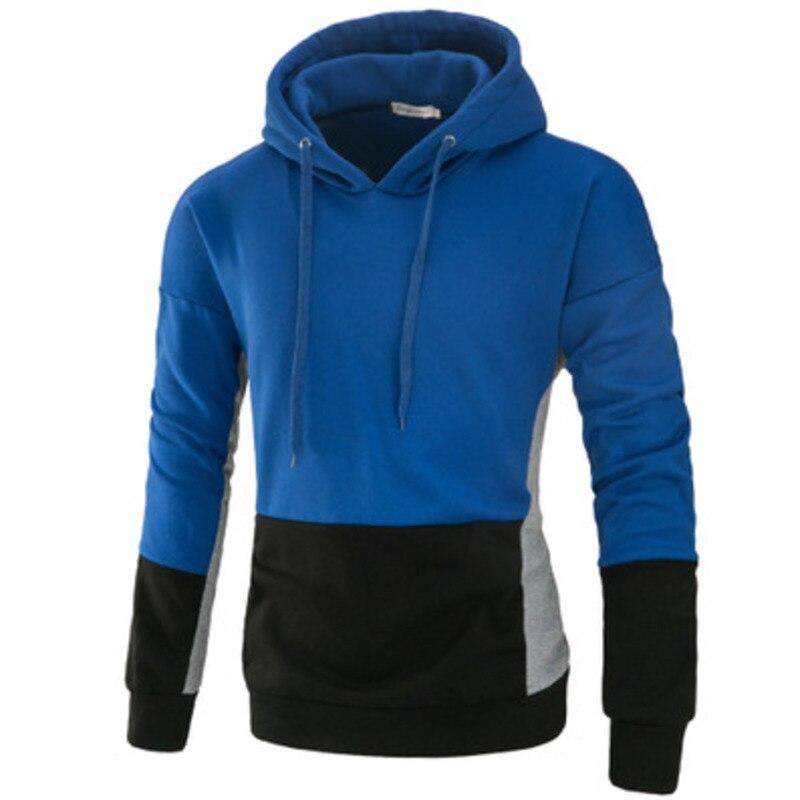 Men's hoodies cotton fashion hooded  stitching color hoodie sweatshirt men casual