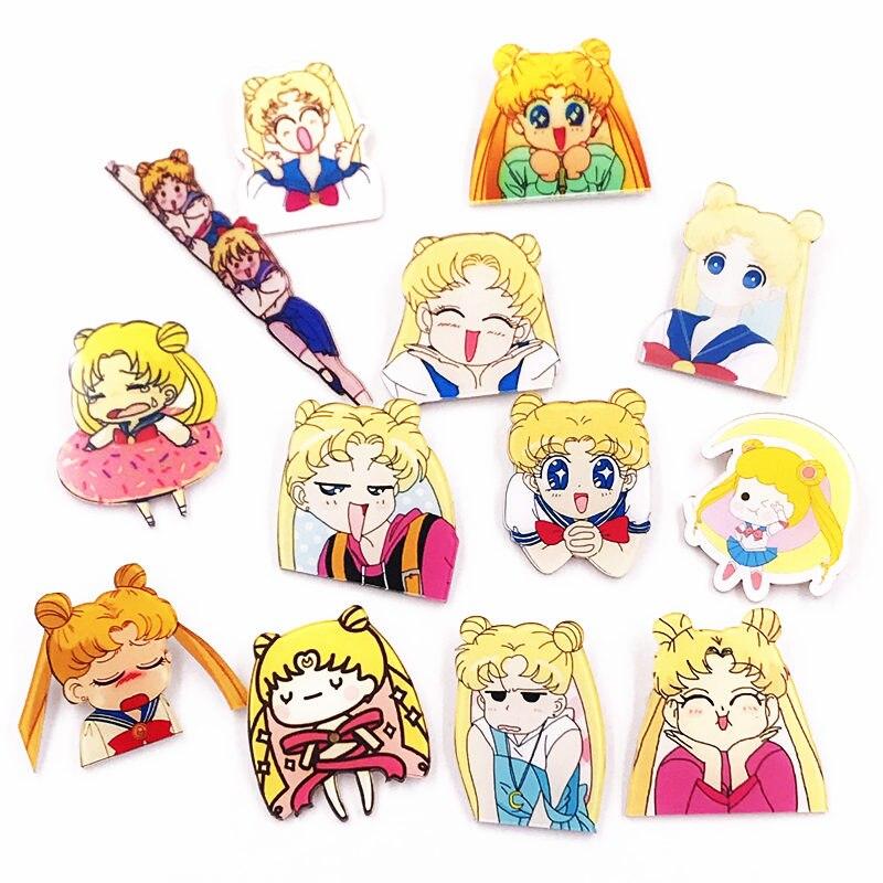 1PCS Sailor Moon Girls Character Icon Harajuku Acrylic Badges Backpack Pins Diy Clothes Sticker Cartoon Anime Brooch Girls Gifts