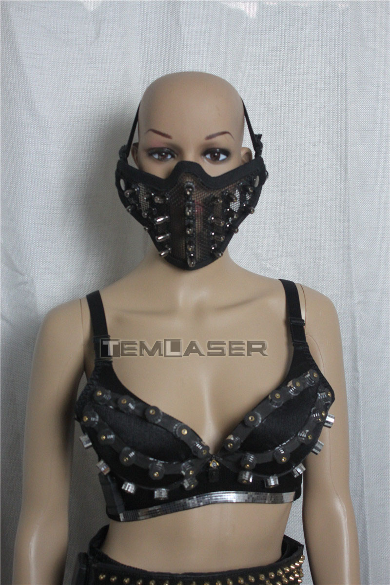 Sexy Lady Clothing Laser Bra and Girdle Laser Red Laser Mask For Night Club Led luminous Sexy Women Suit Laser Show
