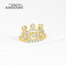 AINUOSHI 10k Solid Yellow Gold Women Engagement Ring Simulated Diamond Bague Crown Rings for Women Anniversary Birthday Gift
