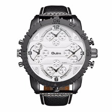 Fashion Quartz Luxury Brand OULM Watches 4 Time Zone watches Men Leather Military Watch for Men