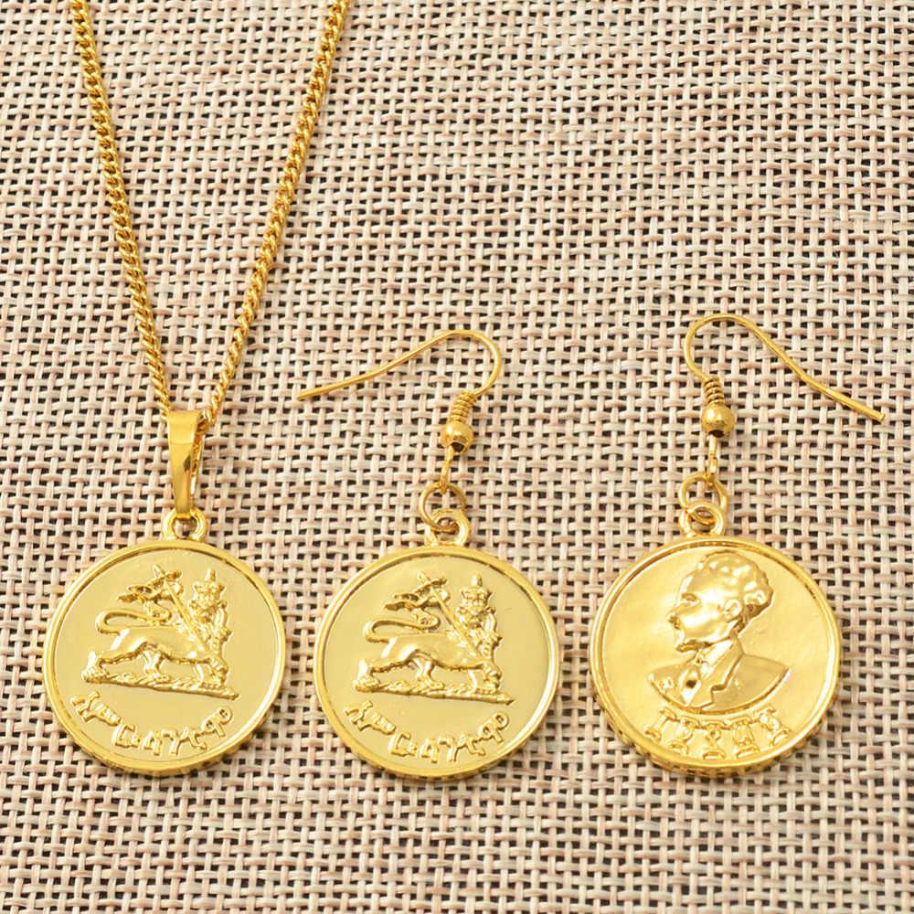 Etiope Monete Del Pendente Degli Orecchini Della Collana di Colore Dell'oro Africano Habesha Sposa Set di Gioielli Da Sposa