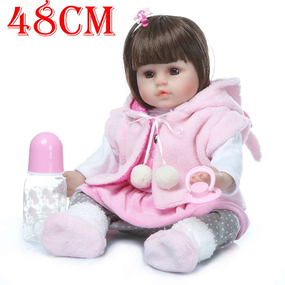 Pink rabbit Style Bebe Girl reborn 48cm Silicone reborn baby alive toddler dolls for child gift Bonecas reborn dolls surprise  Pink rabbit Style Bebe Girl reborn 48cm Silicone reborn baby alive toddler dolls for child gift Bonecas reborn dolls surprise
