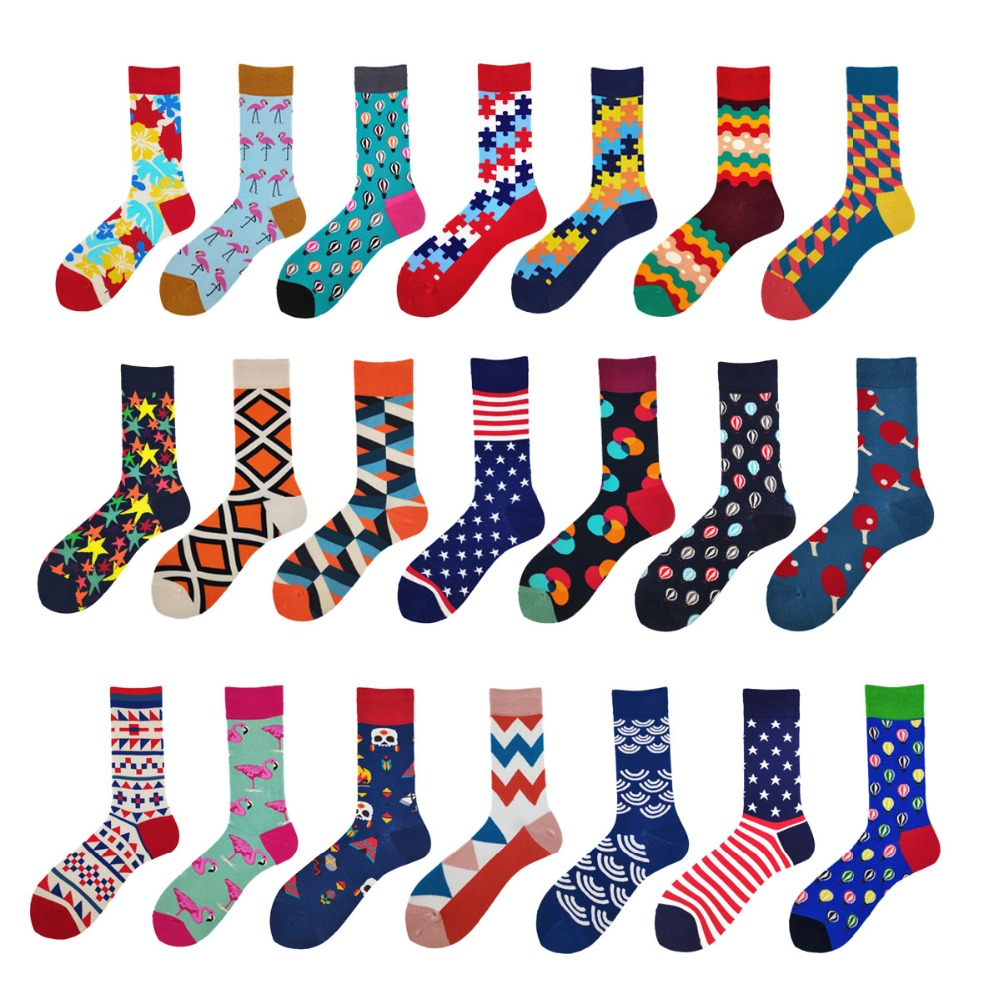 ROCKBOTTOM 1 Pair Men Socks Combed Cotton Bright Colored Funny Socks Men's Calf Crew Sock For Business Causal Dress Wedding Gift