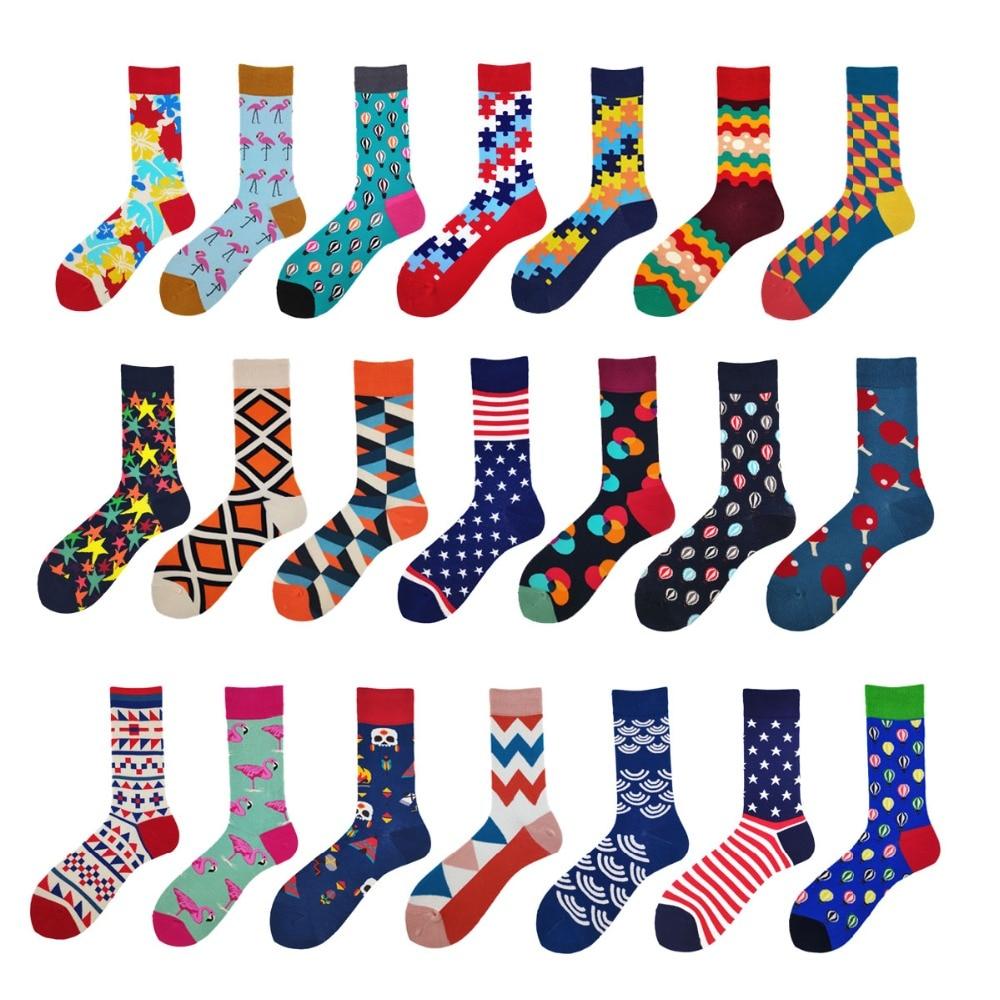 ROCKBOTTOM 1 Pair Men Socks Combed Cotton Bright Colored Funny Socks Men's Calf Crew Sock For Business Causal Dress Wedding Gift