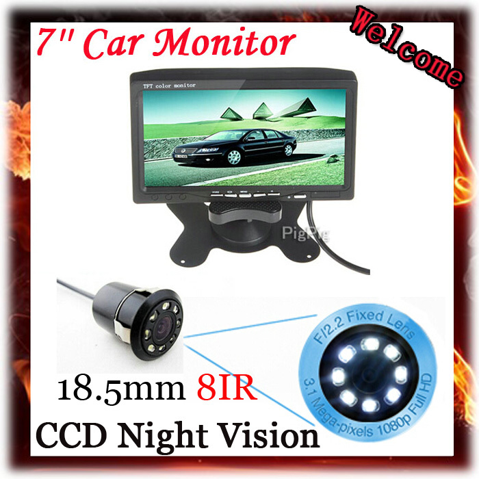 7 Inch Color TFT LCD Display DC 12V Car Rear View Headrest Monitor With 2 Channels Video Input For 8 IR LED Reversing Camera