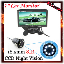 7 Inch Color TFT LCD Display DC 12V Car Rear View Headrest Monitor With 2 Channels Video Input For 8 IR LED Reversing Camera 2pcs 11 8 inch car rear seat entertainment video monitors for range rover 2017 headrest monitor android 7 1 system