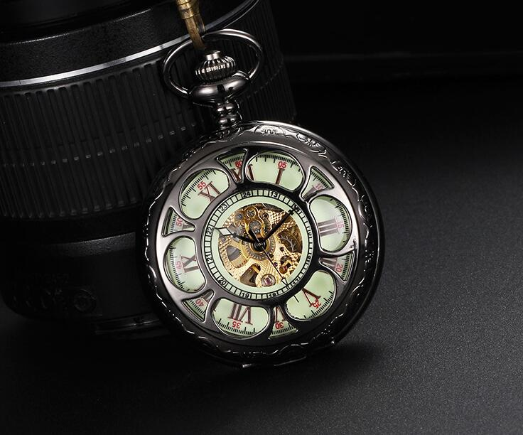 Automatic mechanical watch Vintage black luminous man gift Hollow out Roman high quality pocket watches PP18