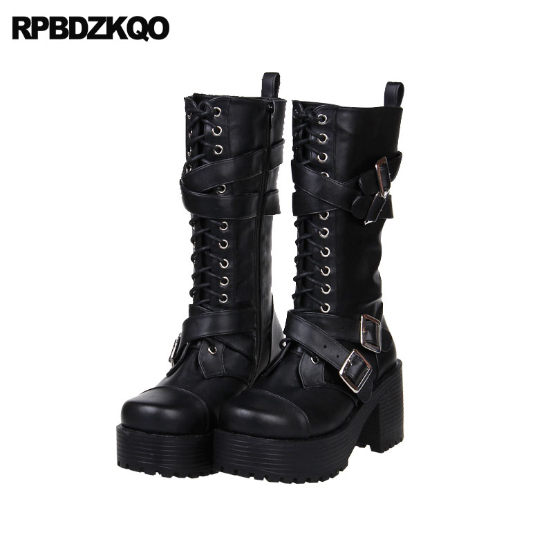 Toe Short Up In 66 Calf Punk fall Women Boots Black Platform Us99 Shoes Japanese Lace Chunky Lolita Rock Round Mid 36Off Gothic High Heel Metal dBEroCxWeQ