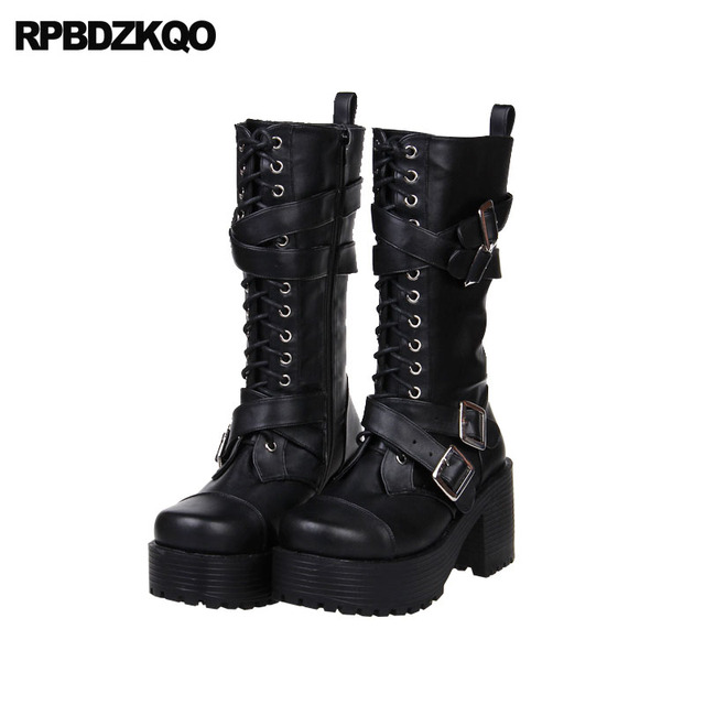0accb79dd2b Fall Japanese Chunky Lolita High Heel Rock Mid Calf Women Metal Gothic  Platform Boots Punk Round Toe Shoes Black Short Lace Up-in Mid-Calf Boots  from ...
