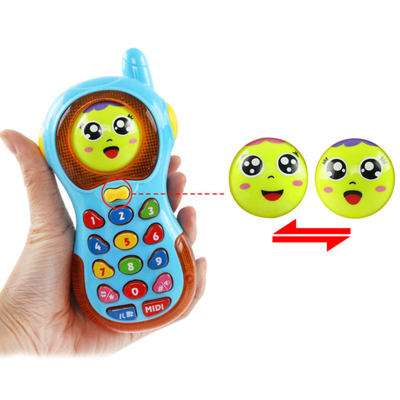 Kids Multifunction Smart Phone Toy Music Colorful Light Early Education Cellphone Cartoon Smile Face Changing For Children
